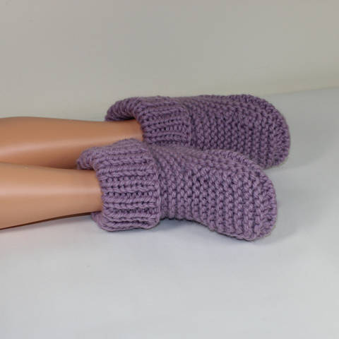 Rib Cuff Super Chunky Slipper Boots - Knitting