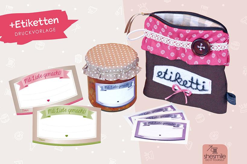 """""""etiketti""""-Täschen im Marmeladenglas-Design (Nähanleitung, Schnittmuster und Etiketten-Druckvorlage) bei Makerist - Bild 1"""