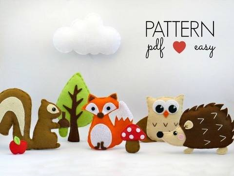 Woodland Creatures Set - Felt Sewing Patterns