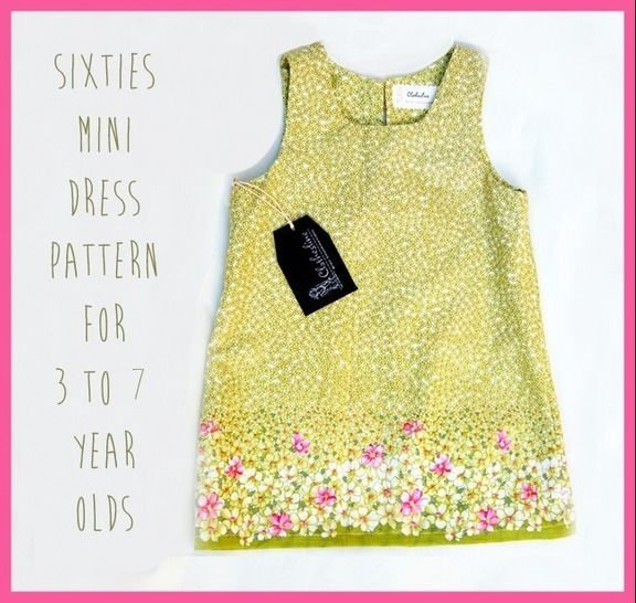 Easy 1960s Mini Shift Dress pdf Pattern for Girls age 3 to 7 at Makerist - Image 1