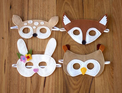 Woodland Animals Mask Pattern - Fox, Fawn, Owl and Bunny