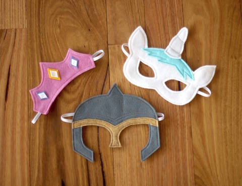 Fairytale Character Masks - Princess Tiara, Unicorn and Knight Helmet Costume