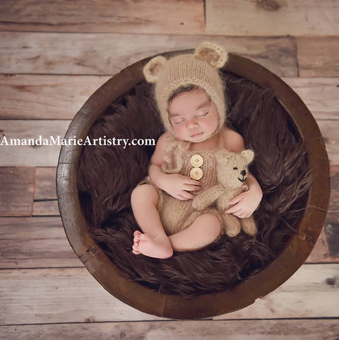 Newborn Baby Bear Romper, Bear bonnet and Bear toy set