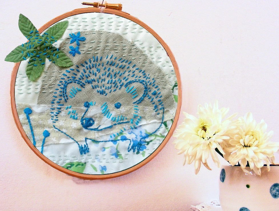 Hedgehog and bluebell flowers embroidery pattern