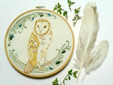 Barn Owl Woodland Embroidery Pattern at Makerist