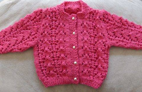 Babies 8ply lacy jacket - PDF knitting pattern - Jasmine
