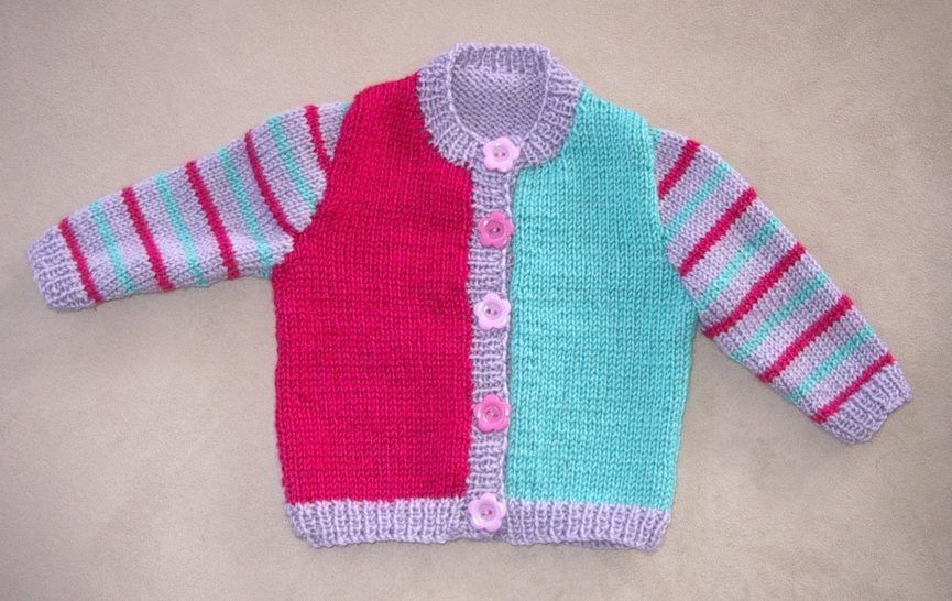 Babies three colour cardigan - PDF knitting pattern - Joanna at Makerist - Image 1