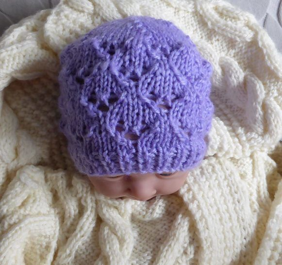 Prem & newborn baby 8ply lace Beanie - Carly at Makerist - Image 1