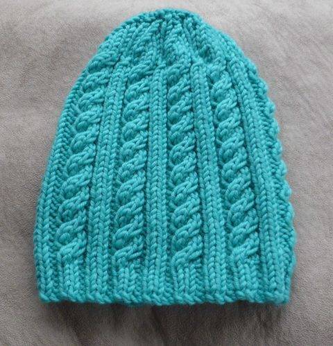Cable and rib beanie, sizes 6 years to Lady - Lesley