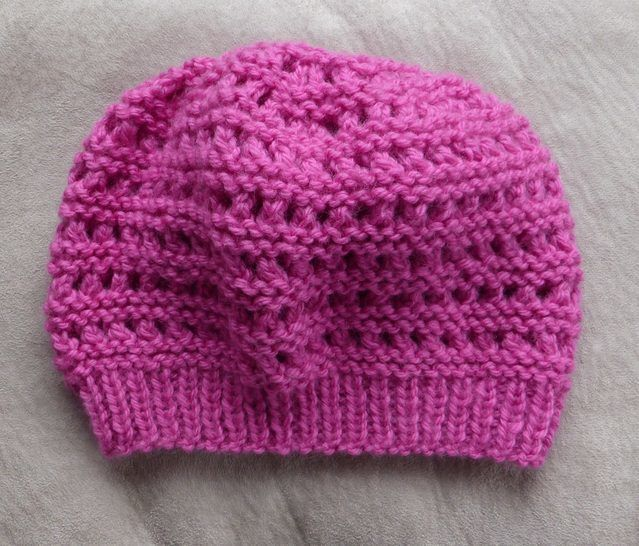12ply eyelet & purl beanie - 2 years to Lady - Zoey at Makerist - Image 1