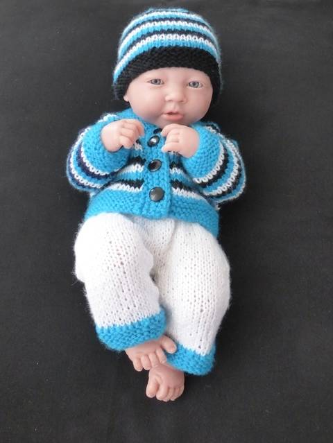 Dolls beanie, cardigan and pants - knitting pattern - Darcy