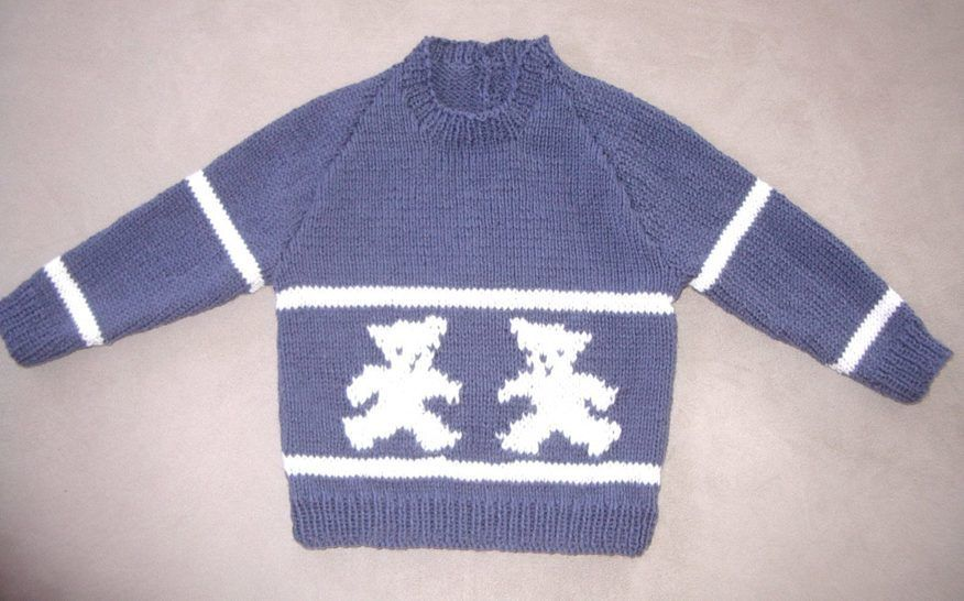 Child's 8ply Bear sweater - PDF knitting pattern - Parker at Makerist - Image 1