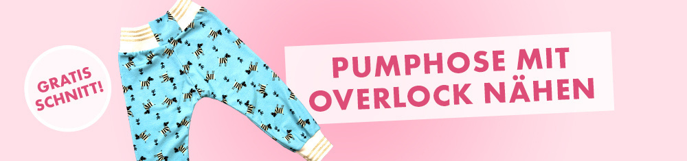 Jersey-Pumphose für Kinder an der Overlock nähen mit Cuff Me-Bündchen - gratis Schnitt