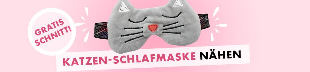Schlafmaske im Katzen-Look nähen - Gratis Schnittmuster