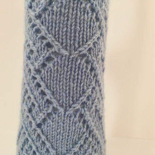 Makerist - Socke in hellblau mit Lochmuster, Gr. 38/39 - Strickprojekte - 2