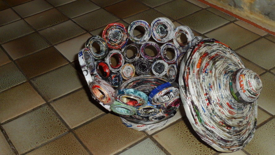 Makerist - Vannerie Bonbonnière en Rotin (papier journal) - Autres créations - 2