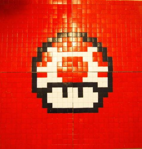 Makerist - 1up aus Mosaiksteinen auf Leinwand - DIY-Projekte - 1