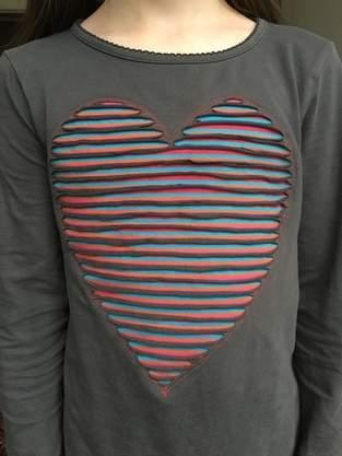 Herz in Chenille Technik aufsticken