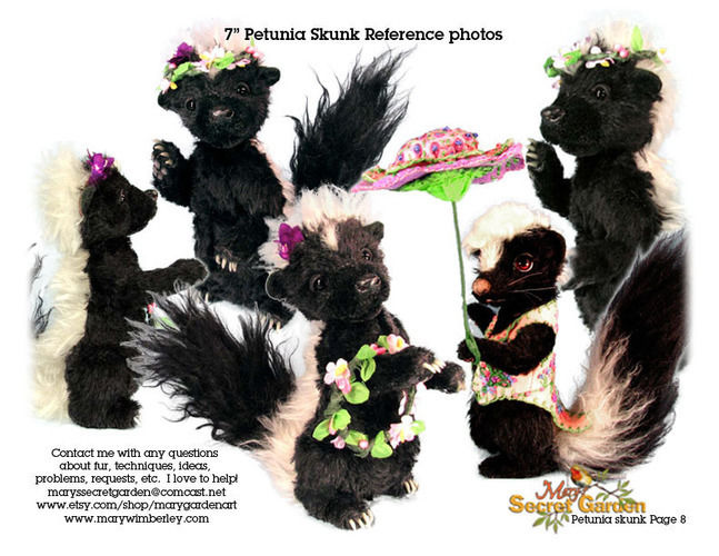 "Makerist - 7"" Petunia Skunk posable mohair collectible  artist soft sculptured animal - Sewing Showcase - 3"