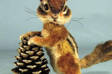 "Makerist - 5"" posable mohair/alpaca collectible chipmunk - 1"