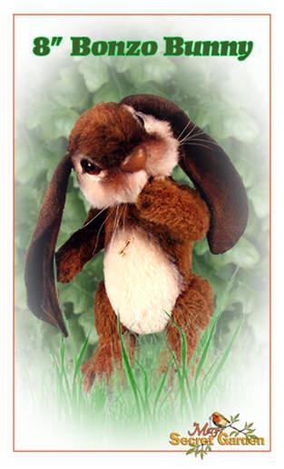 "Makerist - 8"" Bonzo Bunny alpaca jointed bunny with lop ears - 1"