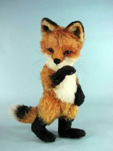 "Makerist - 12"" Red Jamie Fox cub jointed, mohair collectible fox - Sewing Showcase - 1"