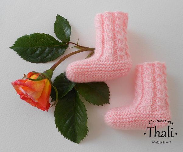 Makerist - Chaussons bouton de rose, pour prématuré - Créations de tricot - 1