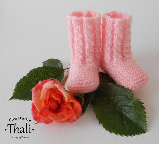 Makerist - Chaussons bouton de rose, pour prématuré - Créations de tricot - 2