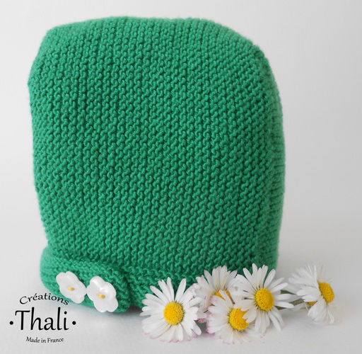Makerist - Béguin pâquerette, bonnet bébé - Créations de tricot - 1