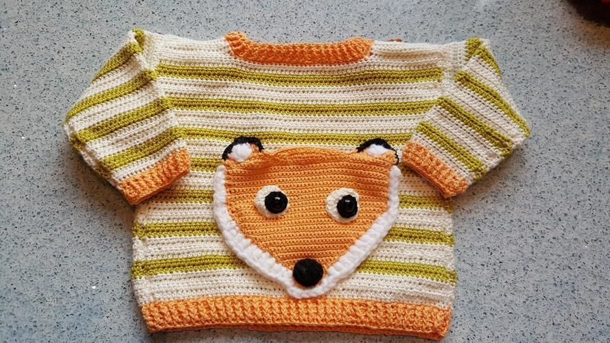 Makerist - Fuchspullover mit aufgesetzter Tasche - Häkelprojekte - 1