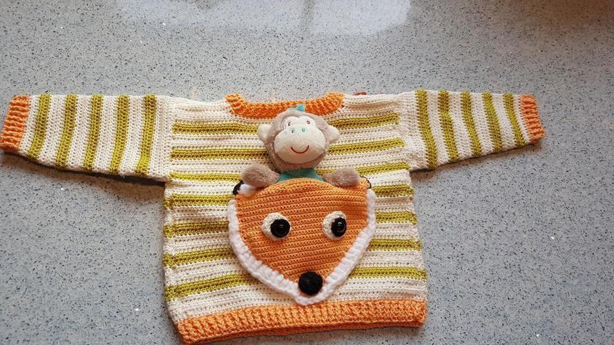 Makerist - Fuchspullover mit aufgesetzter Tasche - Häkelprojekte - 2