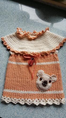 Makerist - Baumwollkleidchen mit Bärentasche - Häkelprojekte - 1