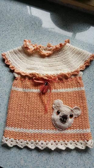 Baumwollkleidchen mit Bärentasche