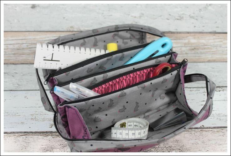 Makerist - Fächertasche in lila u. grau - Nähprojekte - 3