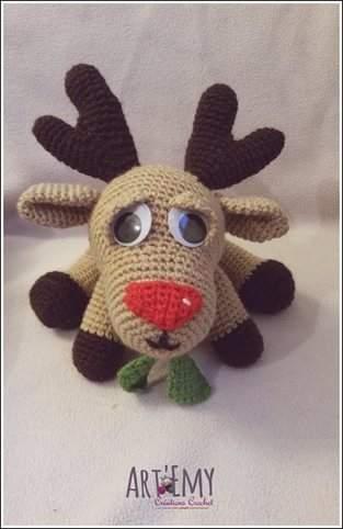 Niko le renne du père Noel, doudou en crochet spécial Noel