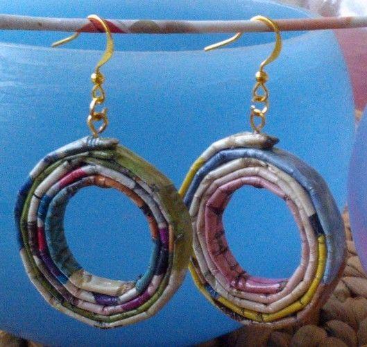 Makerist - Ohrringe aus Papier - Kreolen Papier-Recycling - DIY-Projekte - 1