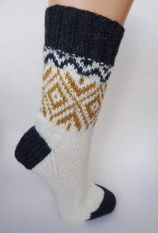 Makerist - Socken mit goldenem Norwegermuster - 1