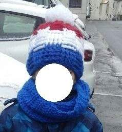 Bonnet Bleu Blanc Rouge au point de vannerie et son snood assorti