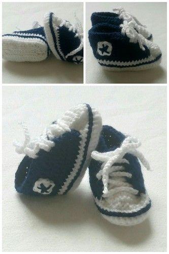 Makerist - Chaussons bébé, basket converse bleu marine et blanc en laine acrylique taille 3/6 mois - Créations de crochet - 1