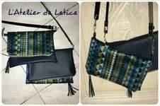 Makerist - Pochette bi matière simili cuir et coton tissé bleu  - 1