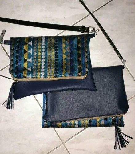 Makerist - Pochette bi matière simili cuir et coton tissé bleu  - Créations de couture - 2
