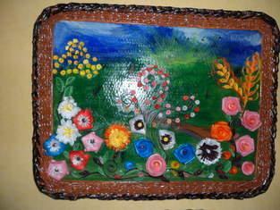 """Makerist - Vannerie Tableau fleurs printemps été (Quilling + cadre en Rotin """"papier journal"""") - 1"""