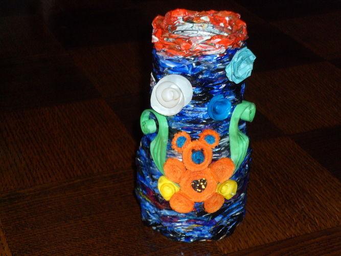 Makerist - Vannerie Vases en Rotin (papier journal) et ourson en quilling - Autres créations - 1