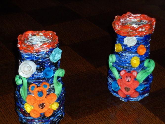 Makerist - Vannerie Vases en Rotin (papier journal) et ourson en quilling - Autres créations - 2