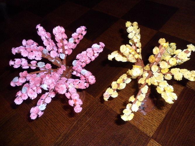 Makerist - Vannerie Mimosa et Cerisier (papier journal et quilling) - Autres créations - 3