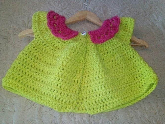 Makerist - Cardigan court taille 3 ans crocheter en fil 100% polyester de chez GRUNDL couleur vert anis - Créations de crochet - 1