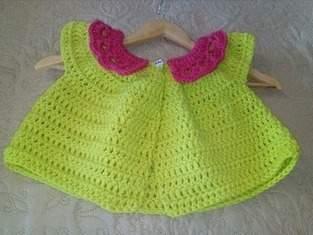Cardigan court taille 3 ans crocheter en fil 100% polyester de chez GRUNDL couleur vert anis