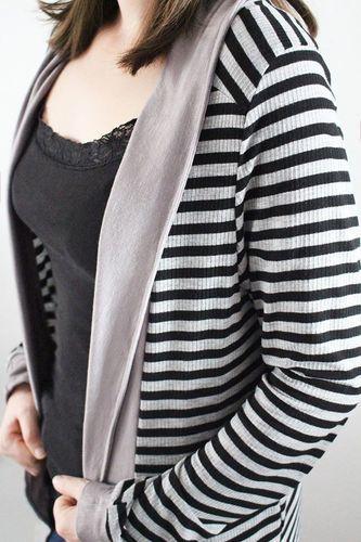 Makerist - Cardigan Lovisa aus leichtem Streifen-Jersey - Nähprojekte - 1