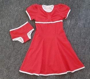 Kleid Winterliebe mit passender Unterhose für die Tochter