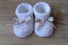 Makerist - Chausson bébé fille 0/3 mois et son petit noeud ruban - 1